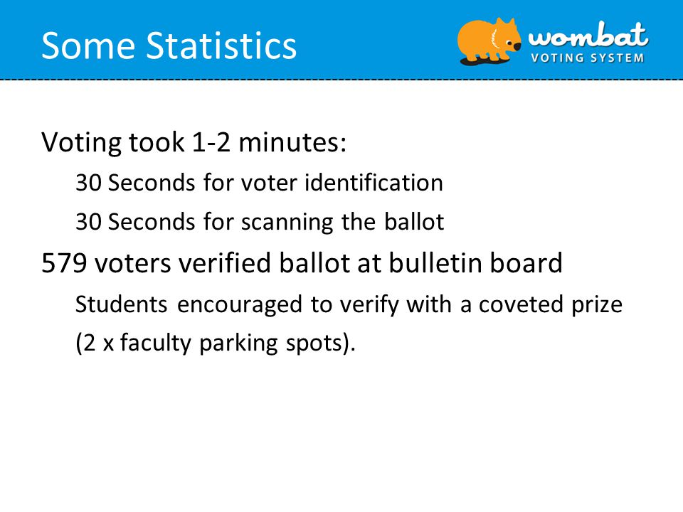 Some Statistics Voting took 1-2 minutes: 30 Seconds for voter identification 30 Seconds for scanning the ballot 579 voters verified ballot at bulletin board Students encouraged to verify with a coveted prize (2 x faculty parking spots).