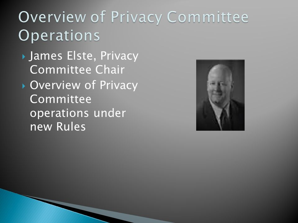  James Elste, Privacy Committee Chair  Overview of Privacy Committee operations under new Rules