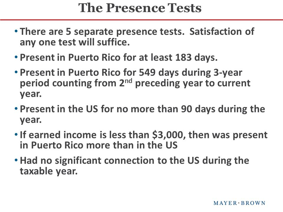 There are 5 separate presence tests. Satisfaction of any one test will suffice.