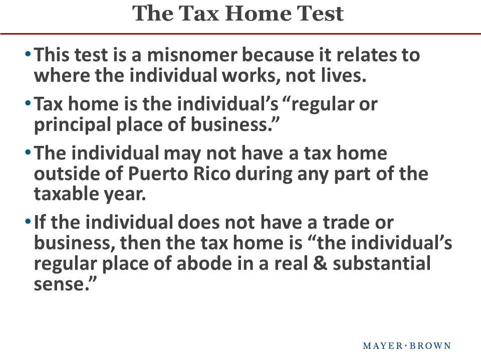 This test is a misnomer because it relates to where the individual works, not lives.