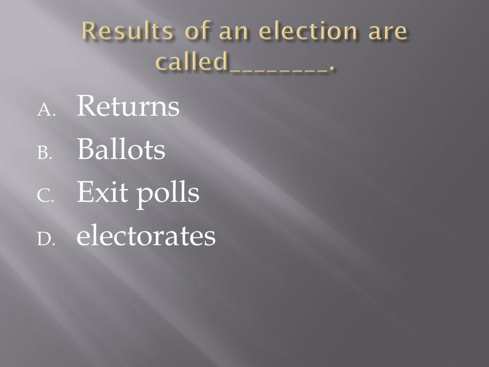 A. Returns B. Ballots C. Exit polls D. electorates