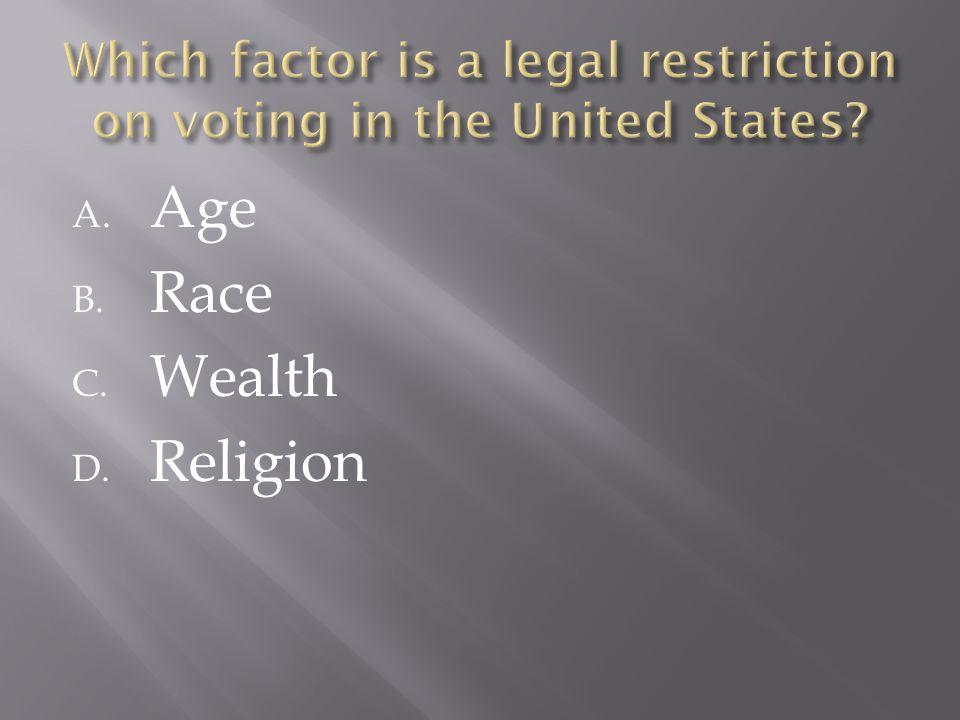 A. Age B. Race C. Wealth D. Religion