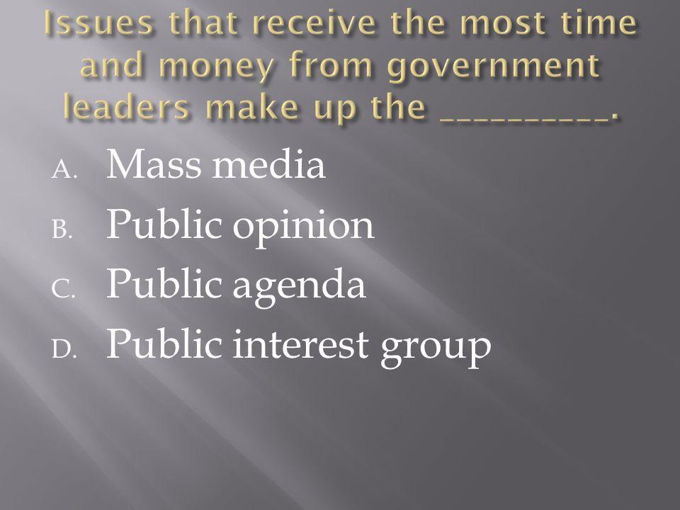 A. Mass media B. Public opinion C. Public agenda D. Public interest group