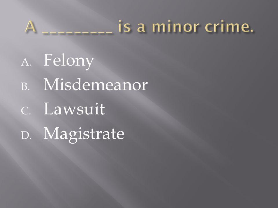A. Felony B. Misdemeanor C. Lawsuit D. Magistrate