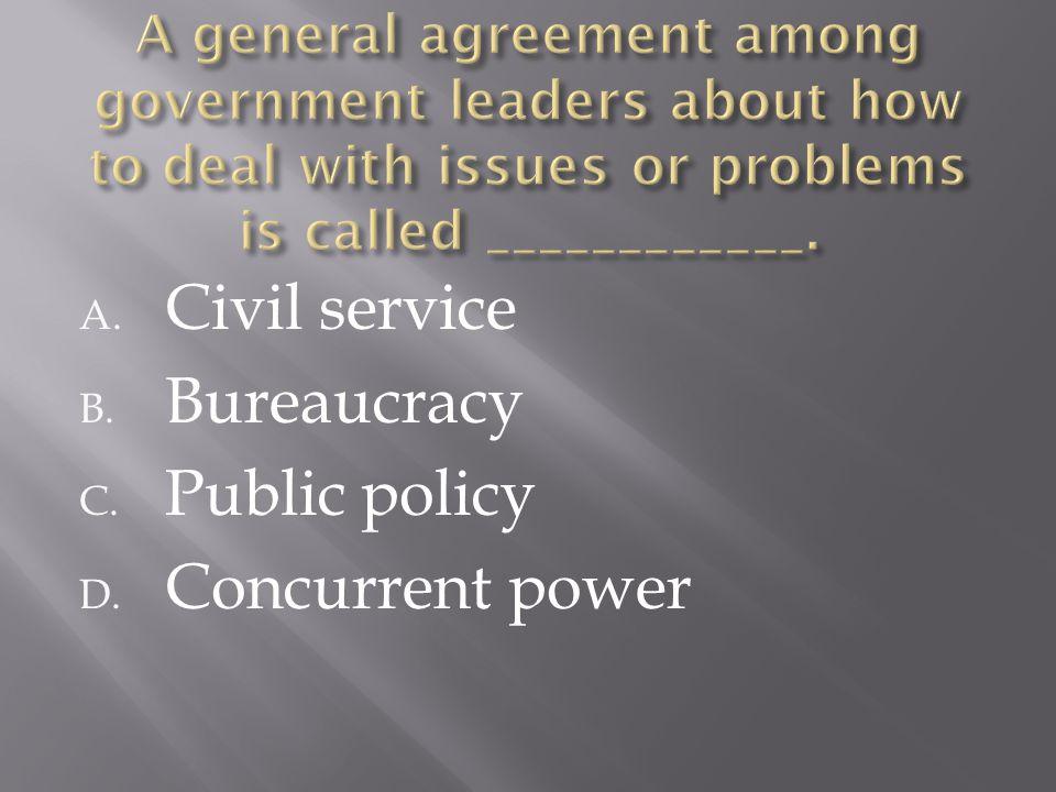 A. Civil service B. Bureaucracy C. Public policy D. Concurrent power