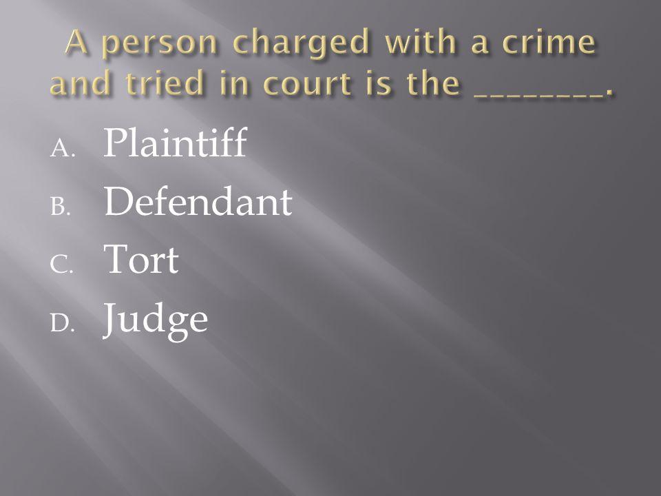 A. Plaintiff B. Defendant C. Tort D. Judge