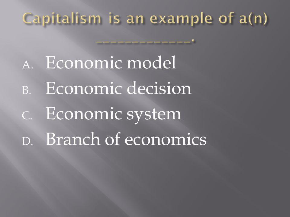 A. Economic model B. Economic decision C. Economic system D. Branch of economics