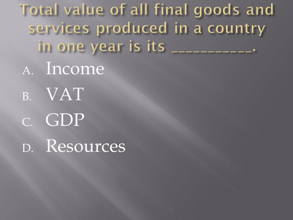 A. Income B. VAT C. GDP D. Resources