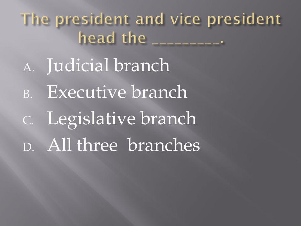 A. Judicial branch B. Executive branch C. Legislative branch D. All three branches
