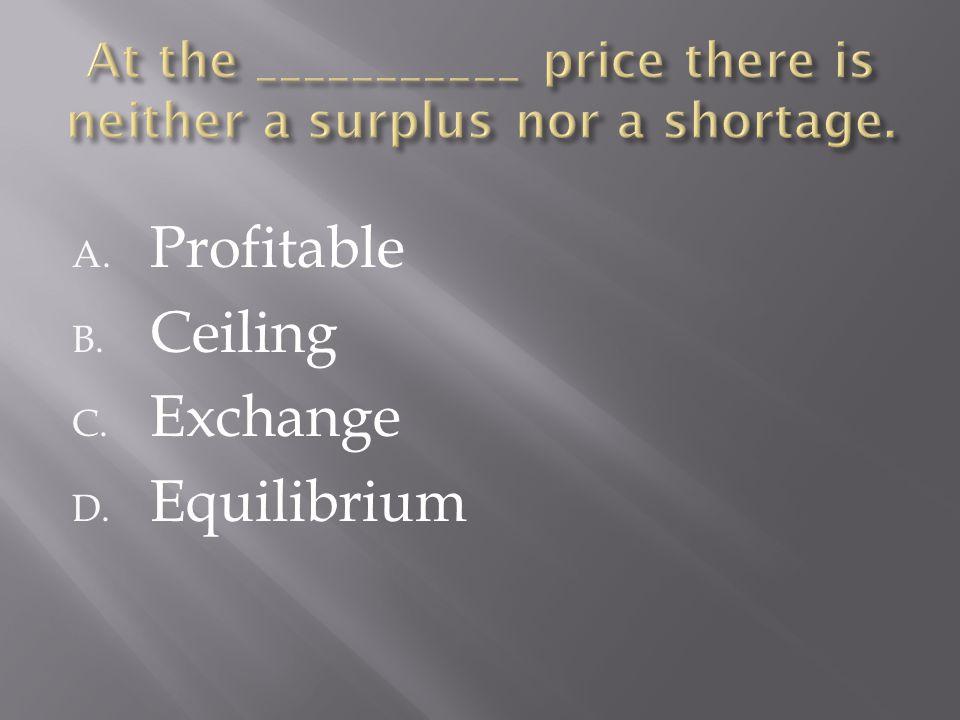 A. Profitable B. Ceiling C. Exchange D. Equilibrium