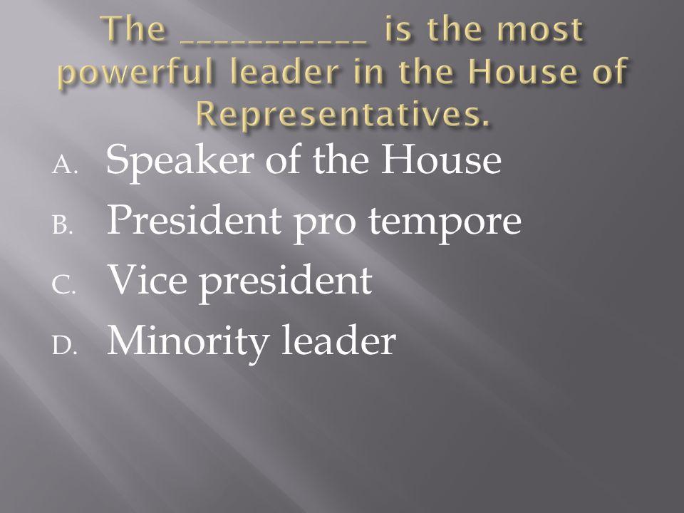 A. Speaker of the House B. President pro tempore C. Vice president D. Minority leader