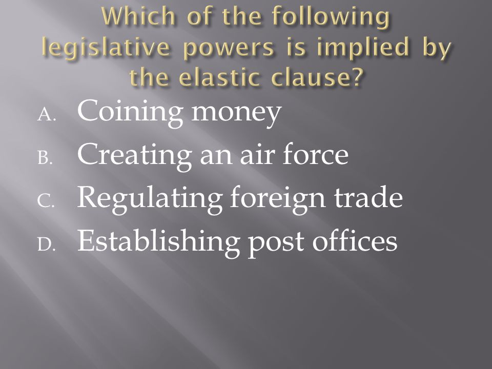 A. Coining money B. Creating an air force C. Regulating foreign trade D. Establishing post offices