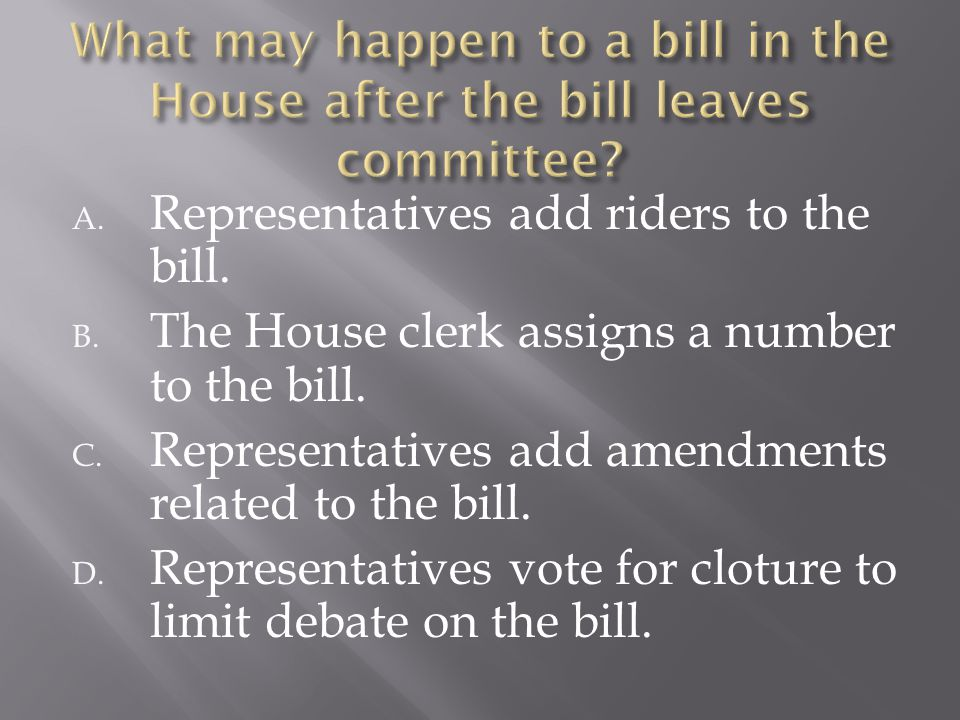 A. Representatives add riders to the bill. B. The House clerk assigns a number to the bill. C. Representatives add amendments related to the bill. D.
