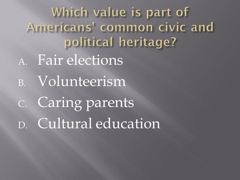 A. Fair elections B. Volunteerism C. Caring parents D. Cultural education