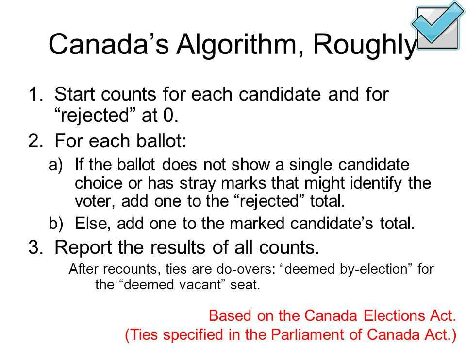 Canada's Algorithm, Roughly 1.Start counts for each candidate and for rejected at 0.