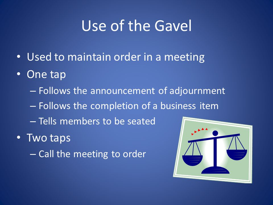 Parliamentary Procedure or Parliamentary Law/Robert's Rules of Order All FFA meetings practice this!!! – Makes meetings more efficient & orderly Goal