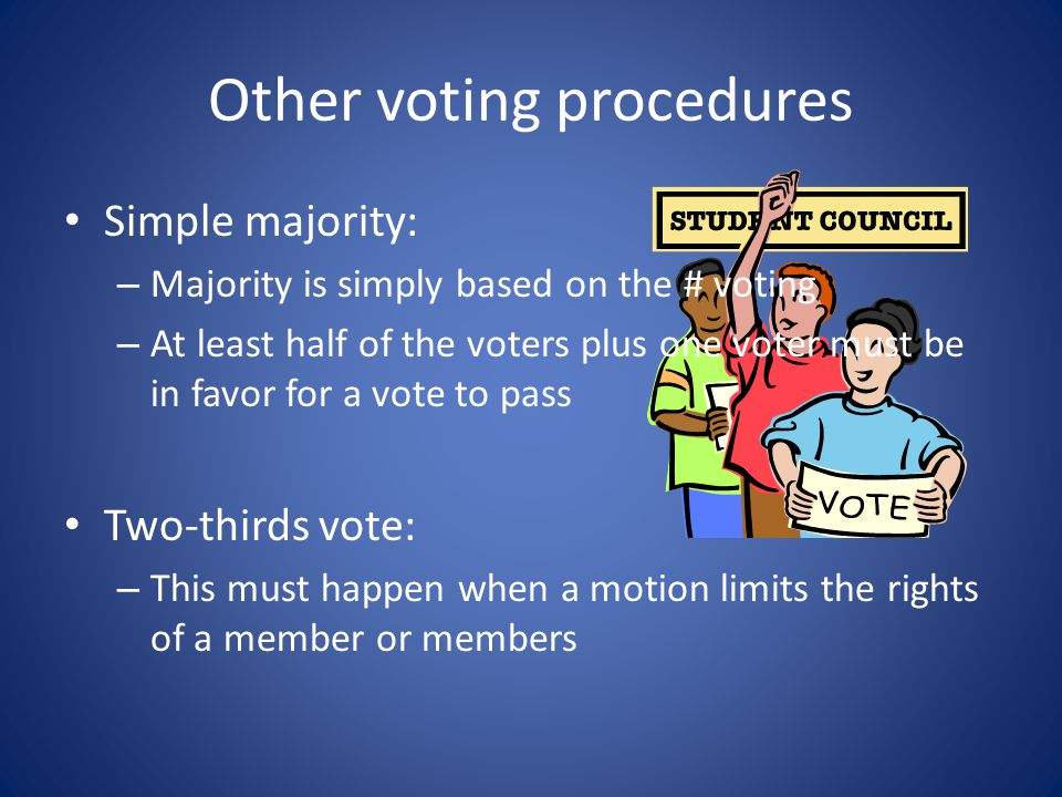 """Voting Four common methods of voting: – Voice vote, by saying """"aye"""" or """"no."""" – Rising vote, either by standing or by a show of hands. – Secret ballot,"""
