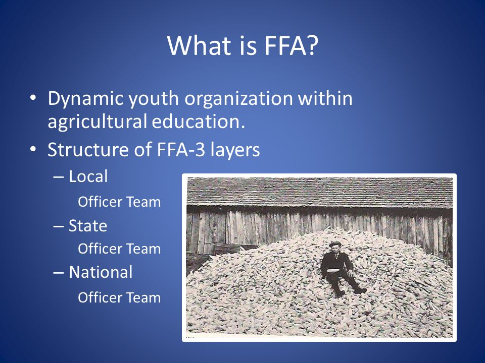 What is Agriscience? 3 Parts – Classroom/Laboratory In the classroom or school day learning – FFA Member of a national organization of over 500,000 FF