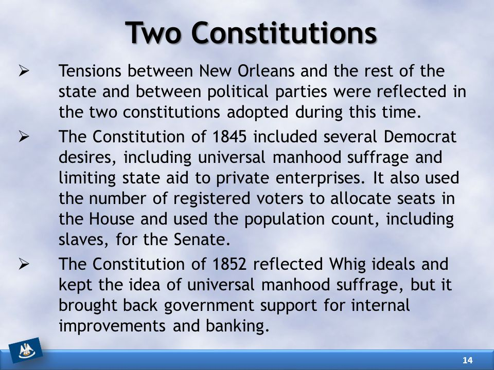 Two Constitutions  Tensions between New Orleans and the rest of the state and between political parties were reflected in the two constitutions adopt