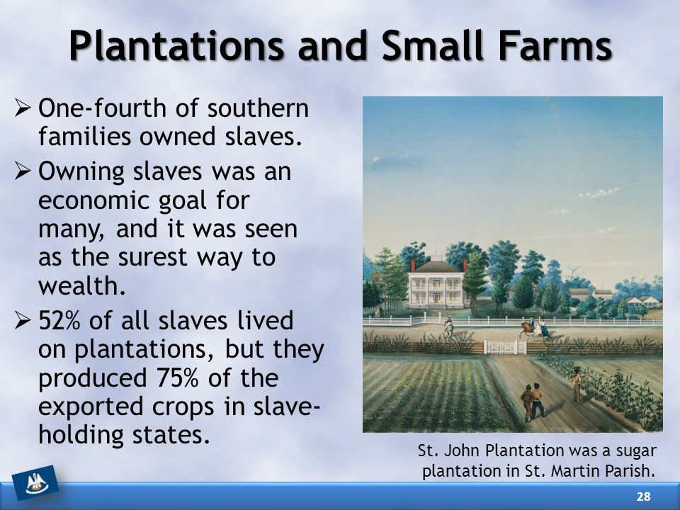  One-fourth of southern families owned slaves.  Owning slaves was an economic goal for many, and it was seen as the surest way to wealth.  52% of a