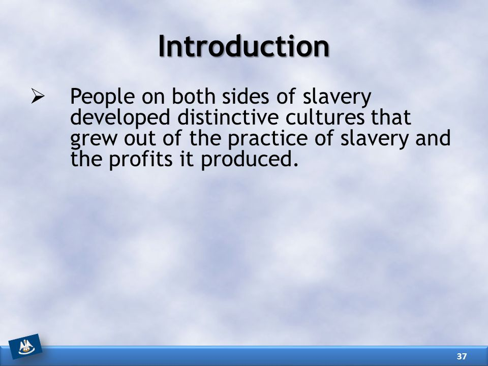 Introduction  People on both sides of slavery developed distinctive cultures that grew out of the practice of slavery and the profits it produced. 37