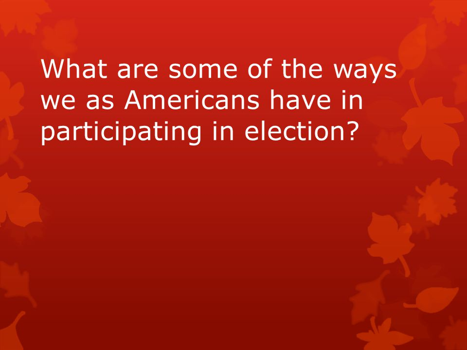 What are some of the ways we as Americans have in participating in election?