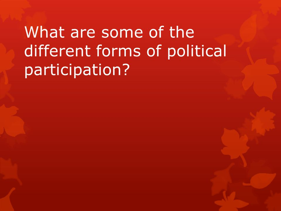 What are some of the different forms of political participation?