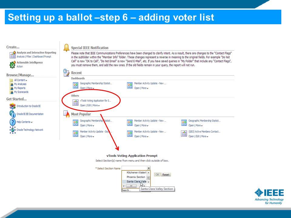 Setting up a ballot –step 6 – adding voter list