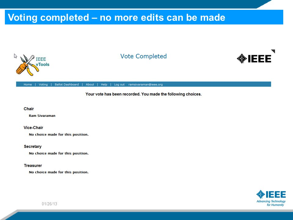01/26/13 Voting completed – no more edits can be made