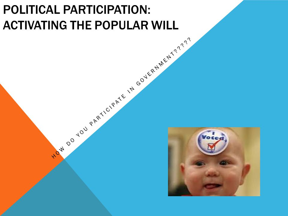 POLITICAL PARTICIPATION: ACTIVATING THE POPULAR WILL HOW DO YOU PARTICIPATE IN GOVERNMENT?????