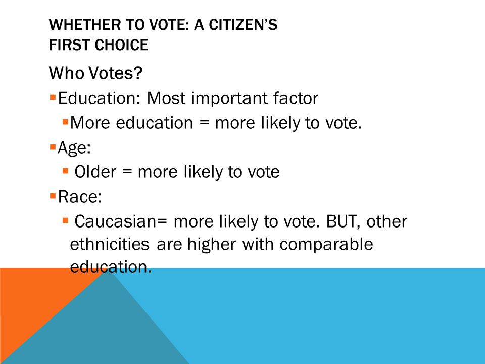 WHETHER TO VOTE: A CITIZEN'S FIRST CHOICE Who Votes?  Education: Most important factor  More education = more likely to vote.  Age:  Older = more