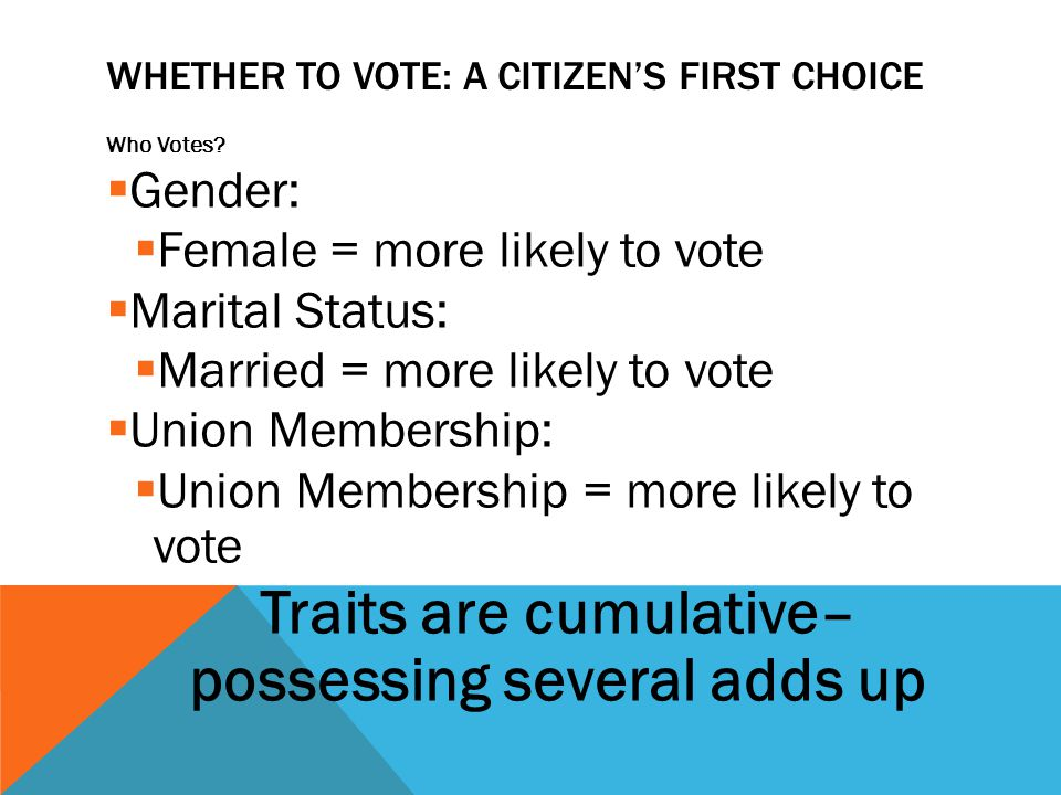 WHETHER TO VOTE: A CITIZEN'S FIRST CHOICE Who Votes?  Gender:  Female = more likely to vote  Marital Status:  Married = more likely to vote  Unio
