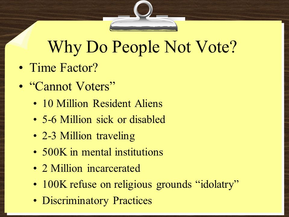 Why Do People Not Vote. Time Factor.