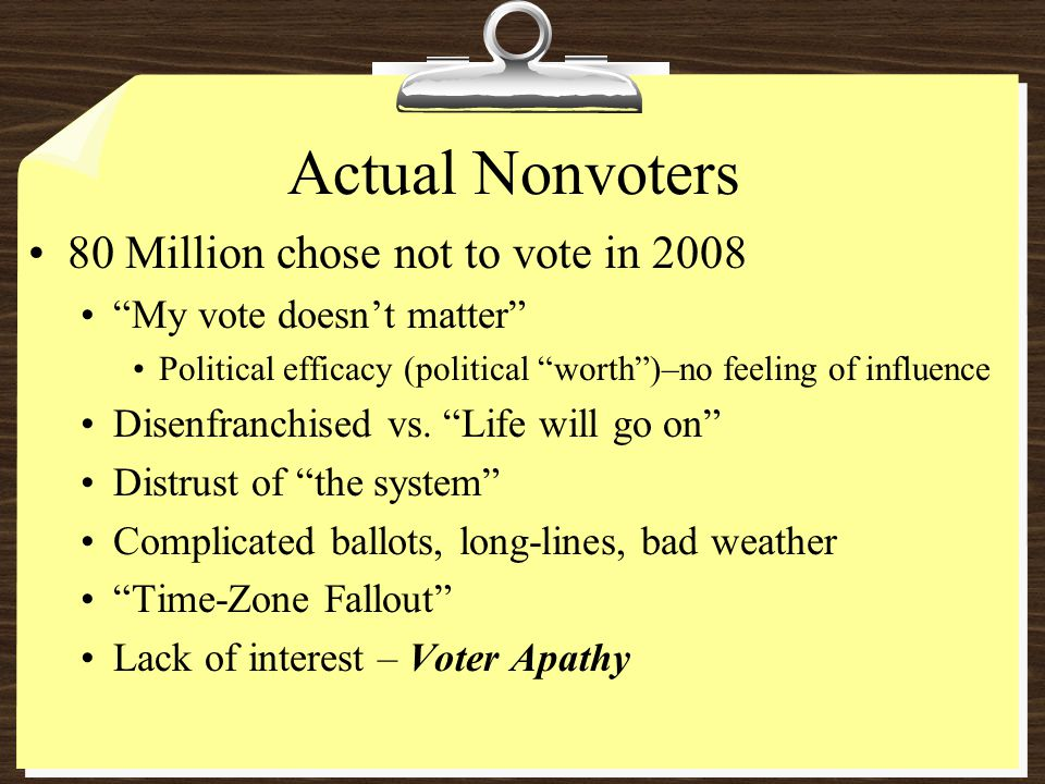 Actual Nonvoters 80 Million chose not to vote in 2008 My vote doesn't matter Political efficacy (political worth )–no feeling of influence Disenfranchised vs.