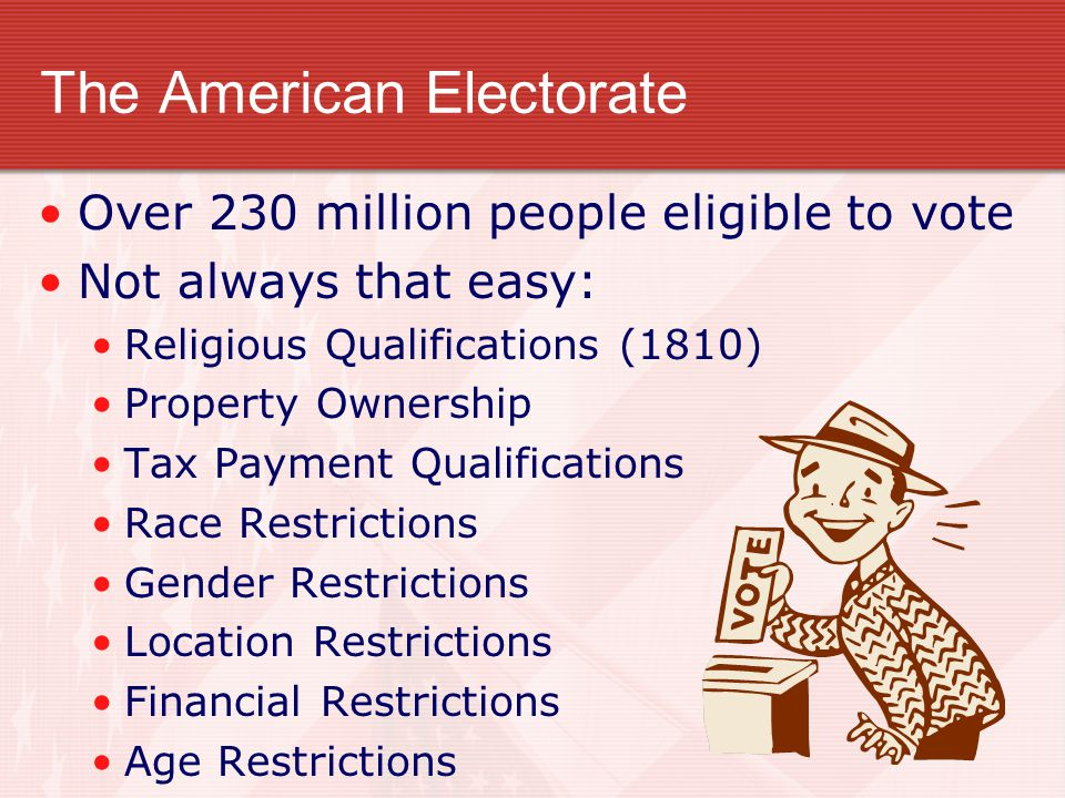 The American Electorate Over 230 million people eligible to vote Not always that easy: Religious Qualifications (1810) Property Ownership Tax Payment Qualifications Race Restrictions Gender Restrictions Location Restrictions Financial Restrictions Age Restrictions