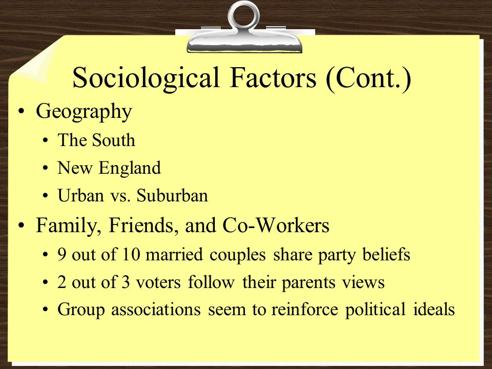 Sociological Factors (Cont.) Geography The South New England Urban vs.