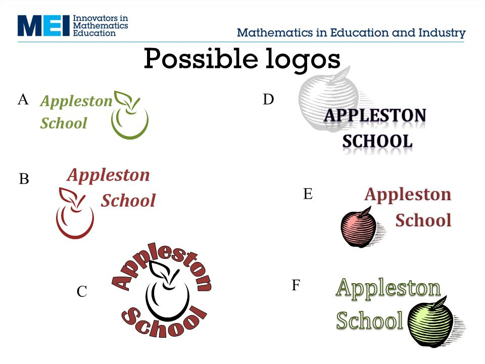 Possible logos ApplestonSchool ApplestonSchool A B C D E F
