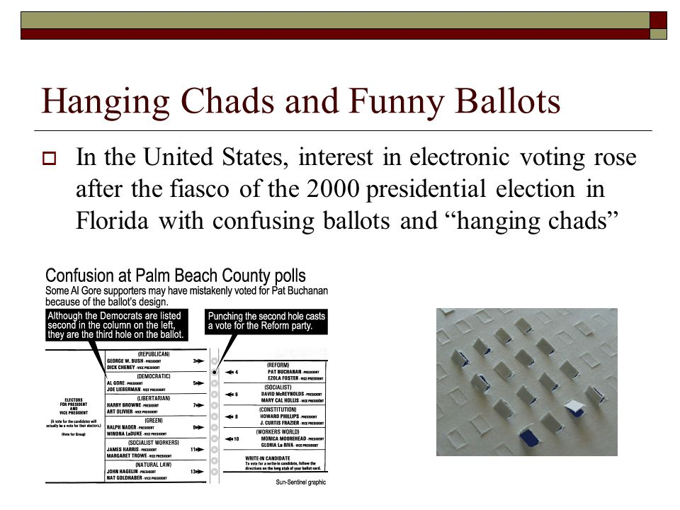  In the United States, interest in electronic voting rose after the fiasco of the 2000 presidential election in Florida with confusing ballots and hanging chads Hanging Chads and Funny Ballots