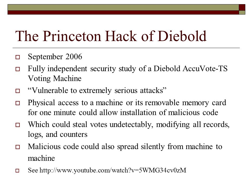 Sequoia Gets Hacked  Sequoia Makes Like Diebold And Gets Hacked By Princeton  By John Gideon,  VotersUnite.org  February 11, 2007  A New Jersey Attorney Will Ask A Judge To Decertify Sequoia AVC Advantage Machines A Princeton Professor Paid $86 For What A NJ County Paid $40,000 For  In a report in Sunday s The Star-Ledger [NJ] it was revealed that Sequoia AVC Advantage Direct Recording Electronic (DRE) voting machines used in 18 of New Jersey s 21 counties were improperly certified for use by the state.report  [Attorney Penny]Venetis filed legal papers Friday claiming the state never certified some 10,000 Sequoia AVC Advantage machines as secure or reliable as required by law.