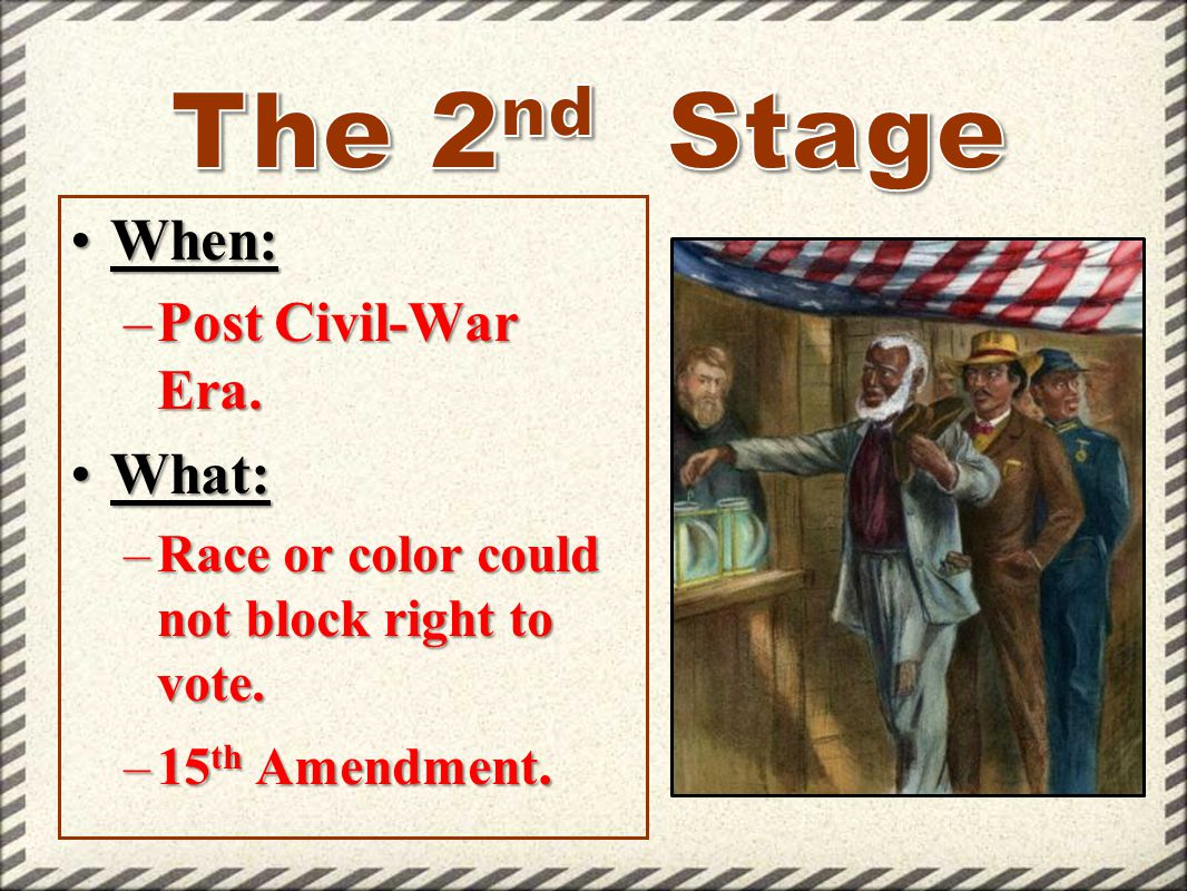 When:When: –Post Civil-War Era. What:What: –Race or color could not block right to vote. –15 th Amendment.