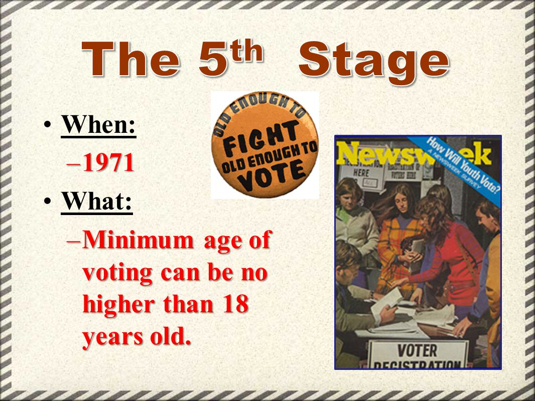When: –1971 What: –Minimum age of voting can be no higher than 18 years old.