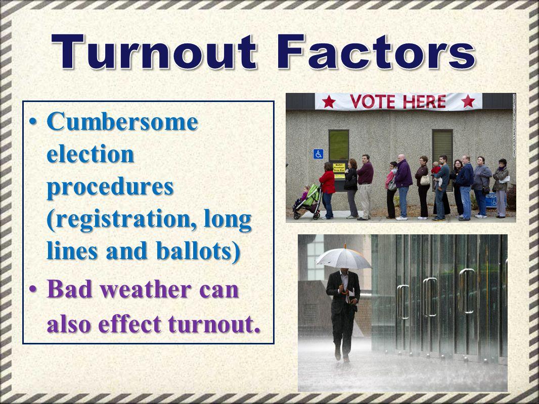 Cumbersome election procedures (registration, long lines and ballots)Cumbersome election procedures (registration, long lines and ballots) Bad weather