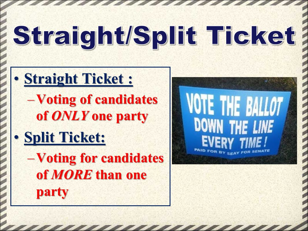 Straight Ticket :Straight Ticket : –Voting of candidates of ONLY one party Split Ticket:Split Ticket: –Voting for candidates of MORE than one party