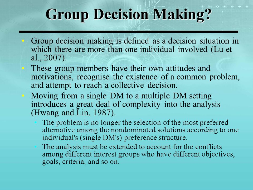 Group Decision Making.