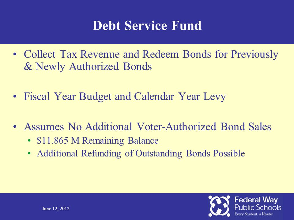 June 12, 2012 Debt Service Fund Collect Tax Revenue and Redeem Bonds for Previously & Newly Authorized Bonds Fiscal Year Budget and Calendar Year Levy