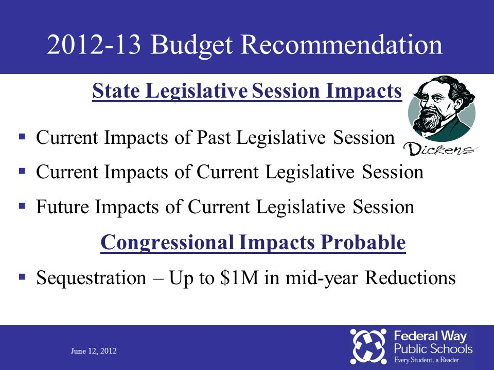 2012-13 Budget Recommendation  Current Impacts of Past Legislative Session  Current Impacts of Current Legislative Session  Future Impacts of Curre