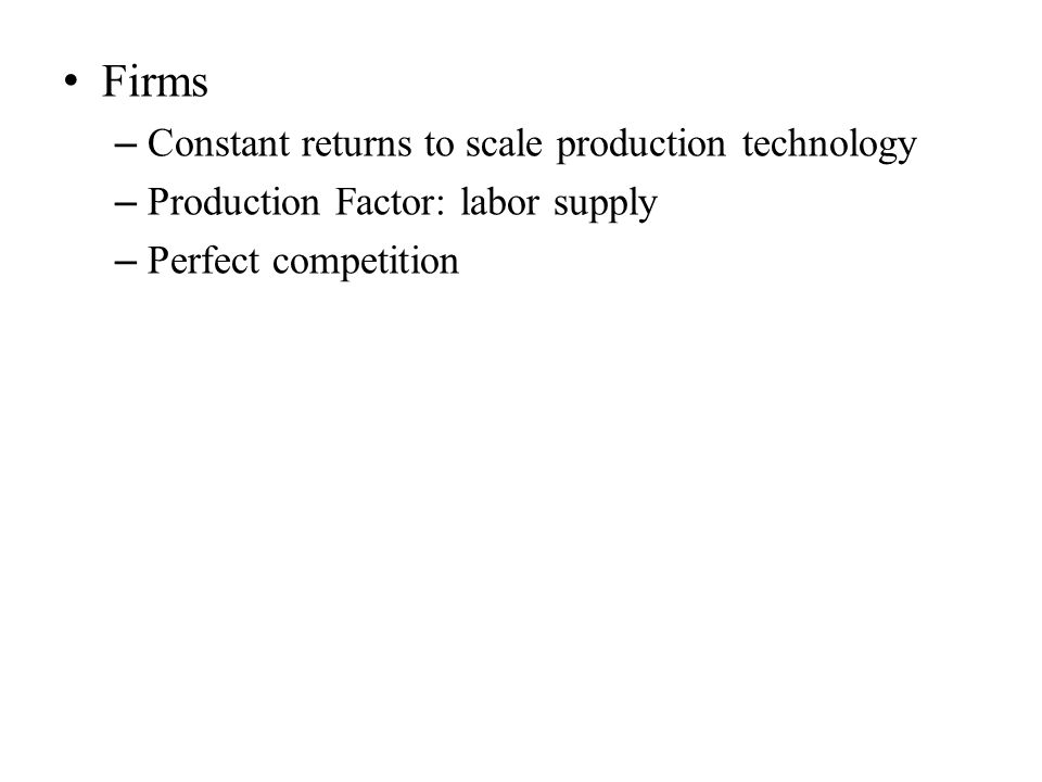 Firms – Constant returns to scale production technology – Production Factor: labor supply – Perfect competition