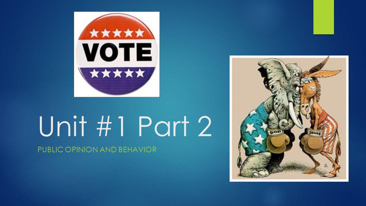Unit #1 Part 2 PUBLIC OPINION AND BEHAVIOR