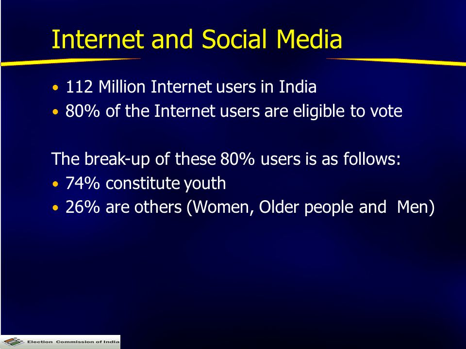 Internet and Social Media 112 Million Internet users in India 80% of the Internet users are eligible to vote The break-up of these 80% users is as follows: 74% constitute youth 26% are others (Women, Older people and Men)