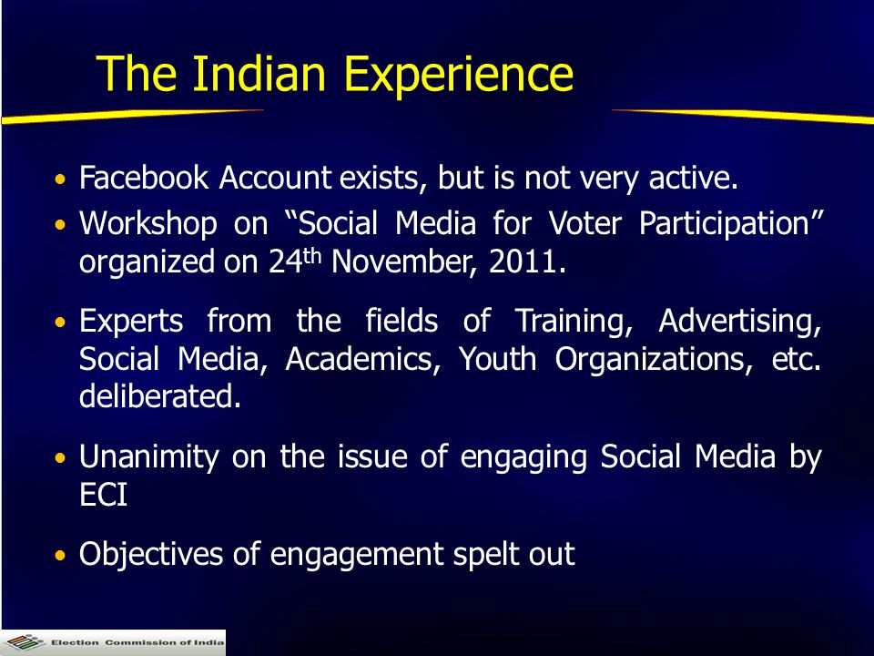 The Indian Experience Facebook Account exists, but is not very active.